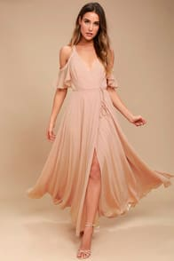 Easy Listening Blush Off-the-Shoulder Wrap Maxi Dress at Lulus.com!