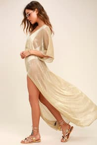 Midas Sheer Gold Maxi Cover-Up at Lulus.com!