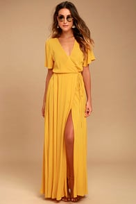 MUCH OBLIGED GOLDEN YELLOW WRAP MAXI DRESS at Lulus.com!