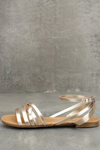 Zoila Champagne Ankle Strap Flat Sandals at Lulus.com!