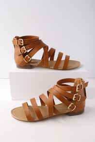 NERIA TAN GLADIATOR SANDALS at Lulus.com!