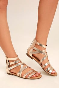 NERIA CHAMPAGNE GLADIATOR SANDALS at Lulus.com!