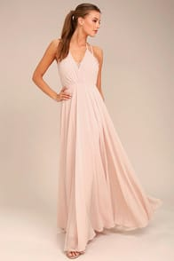 Celebrate the Moment Blush Lace Maxi Dress at Lulus.com!