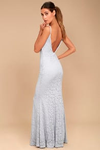 EPHEMERAL ALLURE GREY LACE MAXI DRESS at Lulus.com!