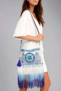 Seashell Collection Cream and Blue Fringe Crossbody Bag at Lulus.com!