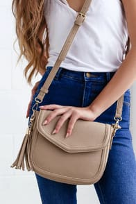 Perfect Grade Taupe Purse at Lulus.com!