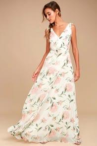 Romantic Possibilities White Floral Print Maxi Dress at Lulus.com!