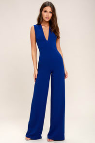THINKING OUT LOUD ROYAL BLUE BACKLESS JUMPSUIT at Lulus.com!