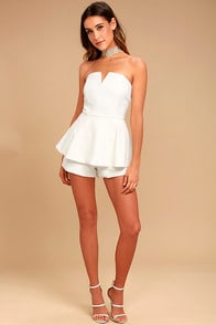 where-you-are-white-strapless-romper at Lulus.com!