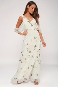 The Very Thought of You White Floral Print Maxi Dress at Lulus.com!