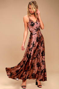TEA GARDENS RUSTY ROSE FLORAL PRINT SATIN MAXI DRESS at Lulus.com!
