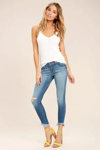 Audrey Medium Wash Distressed Ankle Skinny Jeans at Lulus.com!
