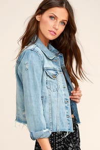 CAN'T WAIT BLUE DISTRESSED DENIM JACKET at Lulus.com!