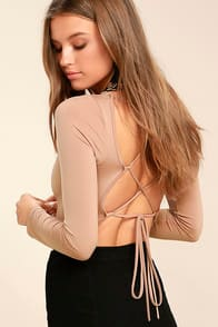 Meant for You Blush Lace-Up Bodysuit at Lulus.com!