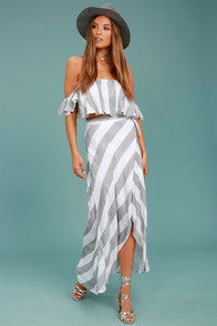 Lulus Golden Sunset Grey and White Striped Wrap Maxi Skirt at Lulus.com!