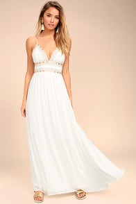 Giza White Embroidered Maxi Dress at Lulus.com!