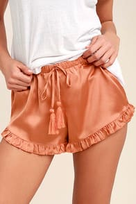 Night Night Copper Satin Shorts at Lulus.com!