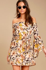 Blushing Blooms Blush Floral Print Off-the-Shoulder Dress at Lulus.com!