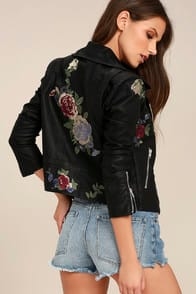 ROCK 'N' ROSE BLACK EMBROIDERED VEGAN LEATHER MOTO JACKET at Lulus.com!