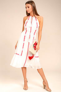 When You Smile White Embroidered Midi Dress at Lulus.com!