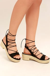 Jenay Black Lace-Up Espadrille Platforms at Lulus.com!