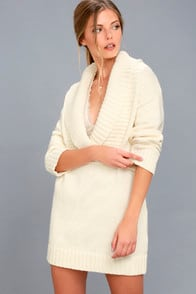 Infinite Skies Cream Sweater Dress at Lulus.com!