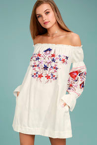 FREE PEOPLE FLEUR DU JOUR CREAM EMBROIDERED DRESS at Lulus.com!