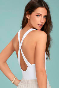 FREE PEOPLE UP AND AROUND WHITE BODYSUIT at Lulus.com!