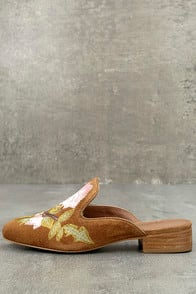 MATISSE BIANCA TAN EMBROIDERED SUEDE LEATHER LOAFER SLIDES at Lulus.com!