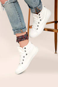 BLOWFISH CRAWLER WHITE CANVAS HIGH TOP SNEAKERS at Lulus.com!