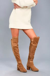Moon Tan Suede Leather Embroidered Over the Knee Boots at Lulus.com!