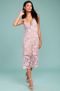 Dress the Population Marie Blush Pink Lace Midi Dress at Lulus.com!