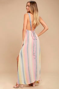 BILLABONG SKY HIGH LIGHT PINK STRIPED MAXI DRESS at Lulus.com!