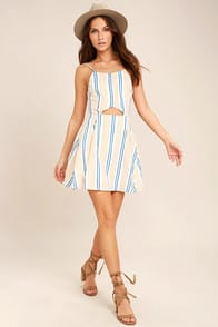 J.O.A. She's Like the Wind White Striped Skater Dress at Lulus.com!