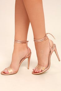 STEVE MADDEN LYLA ROSE GOLD LEATHER LUCITE LACE-UP HEELS at Lulus.com!