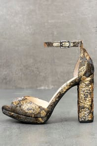JESSICA SIMPSON JENEE METALLIC MULTI BROCADE PLATFORM HEELS at Lulus.com!