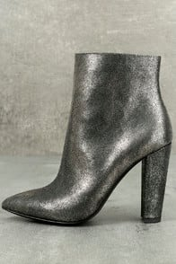 Jessica Simpson Teddi Black and Gunmetal Leather Ankle Booties at Lulus.com!