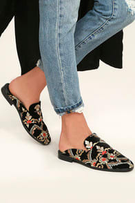 FREE PEOPLE BROCADE AT EASE BLACK EMBROIDERED LOAFER SLIDES at Lulus.com!