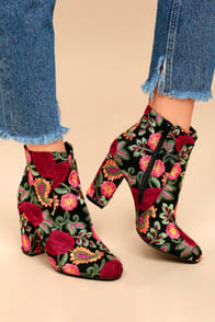 MIA Rosebud Black Embroidered Ankle Booties at Lulus.com!