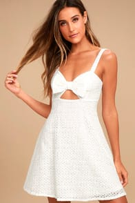 Songbook White Crochet Lace Skater Dress at Lulus.com!