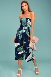 rainforest-blooms-navy-blue-print-strapless-midi-jumpsuit at Lulus.com!