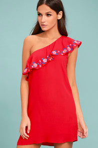 Alpinia Coral Red Embroidered One-Shoulder Dress at Lulus.com!