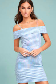 Beach Picnic Blue and White Gingham Dress at Lulus.com!