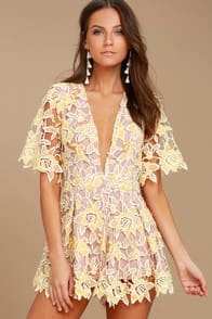 NBD MILA BEIGE AND YELLOW LACE ROMPER at Lulus.com!
