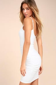 AU COURANT WHITE BODYCON DRESS at Lulus.com!