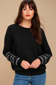 HOW WE LIVE BLACK EMBROIDERED SWEATER at Lulus.com!