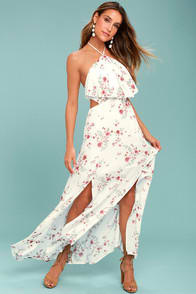 LOST + WANDER MALIBU WHITE FLORAL PRINT MAXI DRESS at Lulus.com!