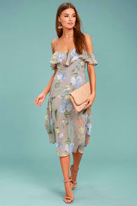 Lost + Wander Penelope Grey Floral Print Midi Dress at Lulus.com!