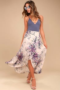 Right By Your Side Blush Pink Floral Print Wrap Midi Skirt at Lulus.com!
