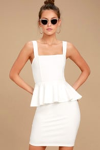 One More Kiss White Peplum Dress at Lulus.com!